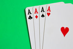 Poker. Four aces of a kind with background Royalty Free Stock Images