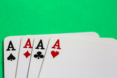 Poker. Four aces of a kind with background Royalty Free Stock Photos