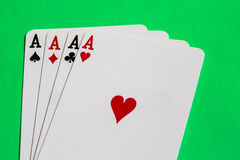 Poker. Four aces of a kind with background Stock Images