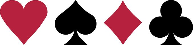 Poker Four playing cards suits. Vector royalty free illustration