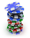 Poker gambling chips falling in pile top view Stock Photo