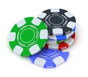Poker gambling chips in pile top view Stock Photography
