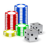 Poker gambling chips and set of dimes Stock Images