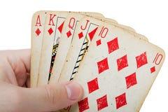 Poker gambling royal flush. Cards gambling leisure poker game royal flush ace royalty free stock photos