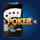 Smartphone and poker illustration stock illustration