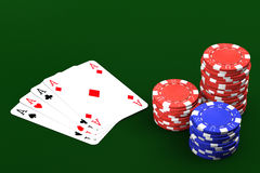 Poker Game. Poker winning hand over a green background stock image