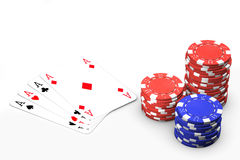 Poker Game. Poker winning hand isolated over a white background royalty free stock image