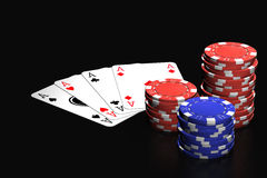 Poker Game. Poker winning hand isolated over a black background royalty free stock images