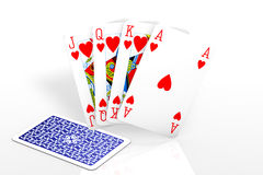 Poker Game. Poker winning hand with one missing card isolated over a white background royalty free illustration
