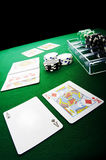 Poker game. Texas hold'em poker showdown Stock Images