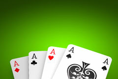 Poker Game. Poker winning hand over a green background stock images