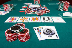 Poker game. Gambling on poker with chips and cards on green table. View from a players perspective with a pool of chips in the middle Stock Images