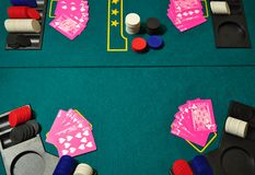 Poker Game. Poker table with Game in progress royalty free stock photo