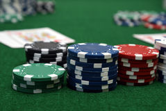 Poker Game. A closeup of a poker table in play Stock Image