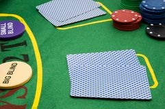 Poker game. Playing poker at a table Royalty Free Stock Photography