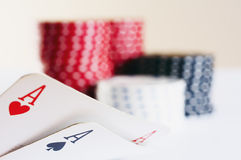 Poker game. Good texas holdem hand Stock Photography