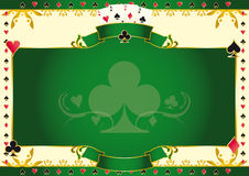 Poker game ace of clubs horizontal background. A  background for your Poker Tournament with a clubs shape. Write your message on the empty frame. Dimensions are Stock Image