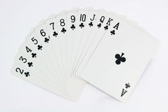Poker game of cards with full scale. On white background Royalty Free Stock Photos
