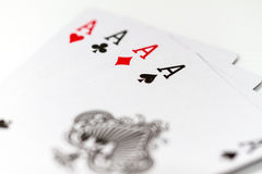 Poker game. Close up on poker chips and cards Royalty Free Stock Photo