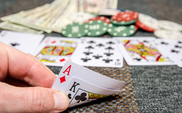 Poker game combinations. As background Royalty Free Stock Photo