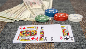 Poker game combinations. As background Royalty Free Stock Images