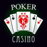 Poker game icon with four aces and king cards Stock Photos
