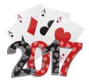 2017 poker game. Illustration of 2017 text with poker cards royalty free illustration