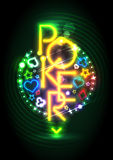Poker game neon lights signboard Royalty Free Stock Image