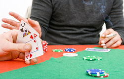 Poker game play Royalty Free Stock Photos