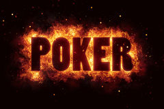 Poker game play text on fire flames explosion burning Royalty Free Stock Images