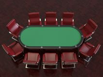 Poker game professional felt table and chairs vector illustration
