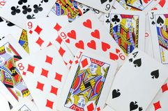 Poker. Game Scattered Confusion Card Hearts Chess Bridge Gambling Athletics Royalty Free Stock Photo
