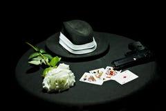 Poker gangster gun rose Royalty Free Stock Photo