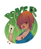 Poker girl tattoo or logo design Royalty Free Stock Photos