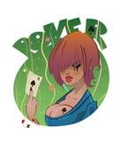 Poker girl tattoo or logo design Royalty Free Stock Photos