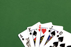 Poker Hand. Queen of Hearts, Spades Stock Photo