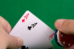 Poker Hand. Showing a piar of aces and poker chips royalty free stock photography