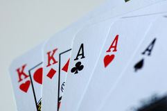 A poker hand. Featuring a full house Royalty Free Stock Images