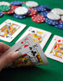 Poker Hand. Texas Hold'em Poker full house hand stock image