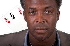Poker hand 3 of a kind aces Royalty Free Stock Photo