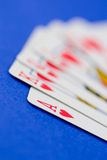 Poker Hand. A royal flush with the ace in focus royalty free stock photos