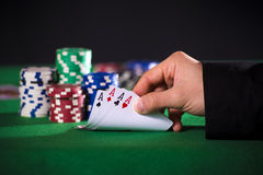 Poker hand with aces Royalty Free Stock Images