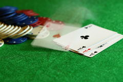 Poker hand B. Photograph of a poker hand being thrown down Stock Photos