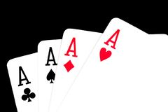 Poker hand on black background Royalty Free Stock Photo