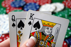 Poker Hand with Chips Stock Images