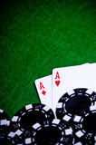 Poker hand with chips, Pocket Aces Royalty Free Stock Photography