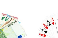 Poker hand four of a kind in aces and some euro bank notes vector illustration