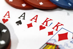 Poker hand of a full house Stock Photography