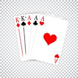 A Poker Hand Full House three Aces and pair of Kings playing cards.  stock illustration