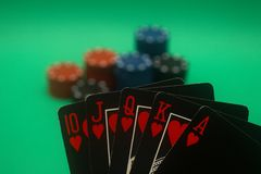 Poker Hand - Hearts Straight Flush Stock Photo